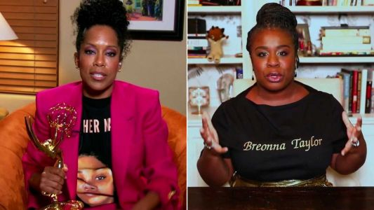 Regina King and Uzo Aduba wear shirts honoring Breonna Taylor during the Emmys