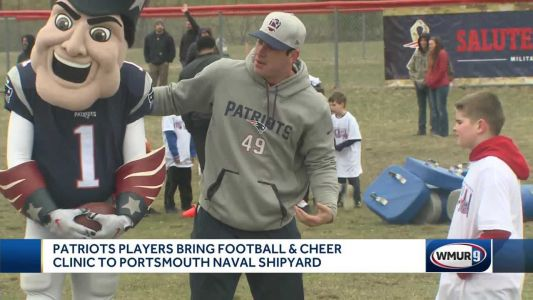 Patriots players, cheerleaders bring football and cheer clinic to Portsmouth Naval Shipyard