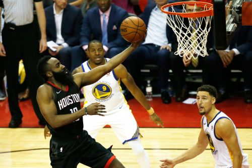 Harden scores 27 as Rockets whack Warriors to even series