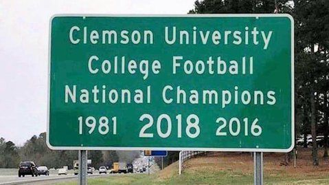Clemson National Championship sign on I-85 gets upgrade