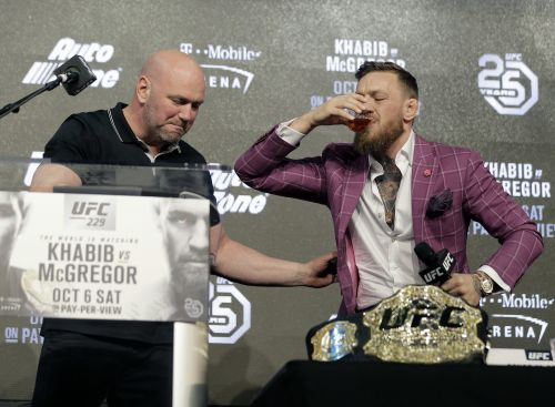 Conor McGregor slugged whiskey, mocked his opponent's accent, and accused him of disrespecting Vladimir Putin during a wild UFC 229 press conference