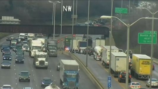 LIVE: Lost tire crosses interstate median, hits oncoming vehicle