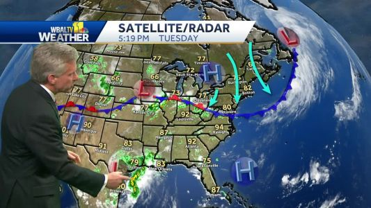 Scattered showers, chance for t'storms Wednesday