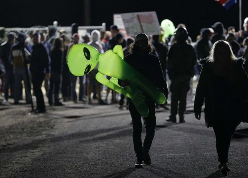 Dozens of alien enthusiasts descend on Area 51 for event that started as a joke; 1 person arrested