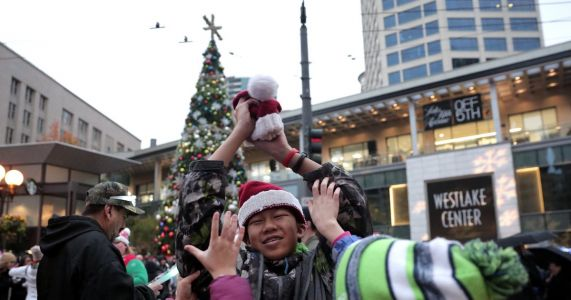 At the downtown Seattle tree lighting, all eyes are on the sky