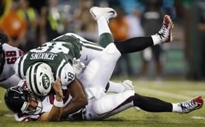 Helmet penalty flags fly in Jets' win over Falcons