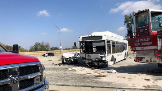 Bus plows into cars on Los Angeles highway, at least 40 injured