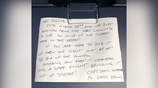 A pilot's pre-pandemic letter was found tucked away on a plane coming out of storage