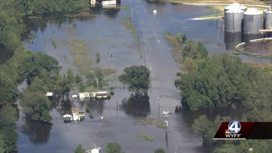 Video: Sky 4 tour shows flood damage from Hurricane Florence