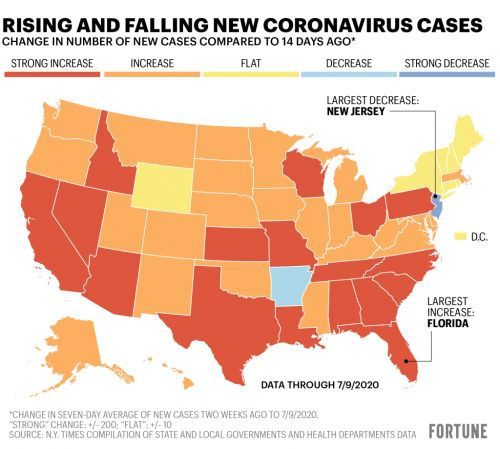 Map: It's not just Florida, Texas, California and Arizona driving the new record high in U.S. COVID cases
