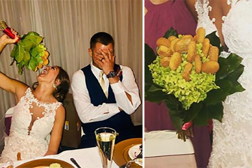Maid of honor presents bride with chicken-nugget bouquet
