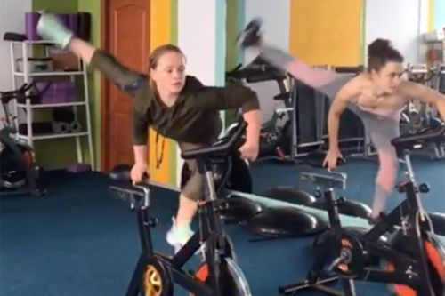 This woman takes spin class to an outrageous new level
