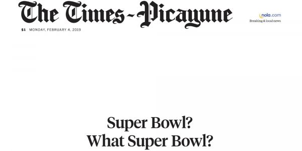 New Orleans newspaper shades the 'super boring' Super Bowl with a blank front page