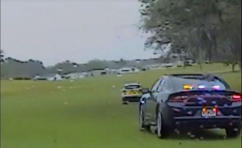 High-speed chase through Florida golf course caught on camera
