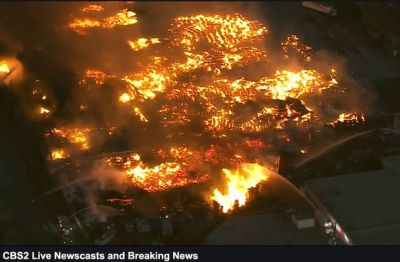 Firefighters douse huge fire at California recycling center