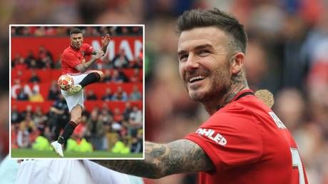 'Poetry in motion': David Beckham rolls back the years during 'Treble 99' celebration game