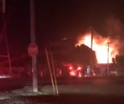 Fire engulfs Moser Leather Company in New Albany