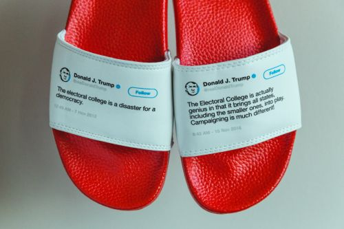 This guy made physical flip-flops out of Trump's contradictory tweets - and he sold out his entire inventory in less than a month