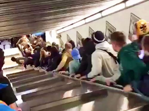 An escalator at a Rome subway station went haywire and piled dozens of people onto the floor