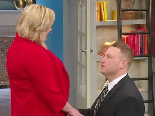 A man had a drastic makeover after losing 300 pounds - and surprised his girlfriend with a proposal on national TV