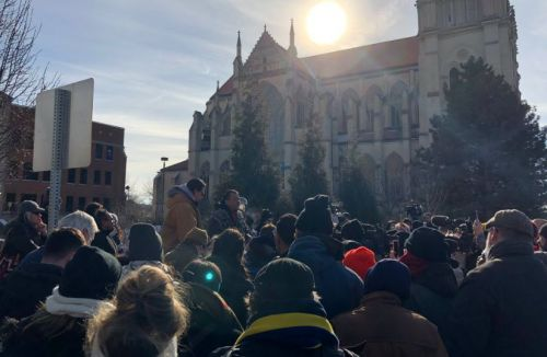 Native American group holds rally outside Diocese of Covington