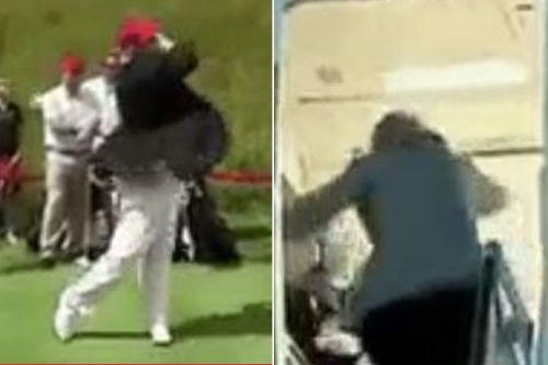 Trump retweets video of golf ball hitting Hillary Clinton in the back