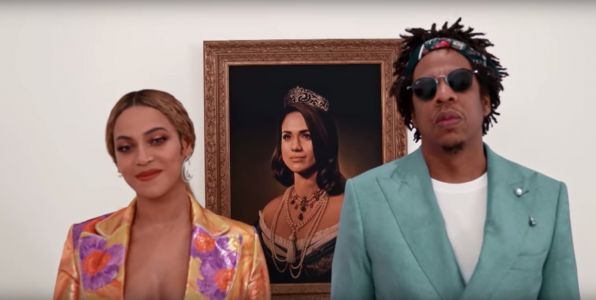 Beyoncé and Jay-Z 'bowed down' to a regal portrait of Meghan Markle when accepting their BRIT Award