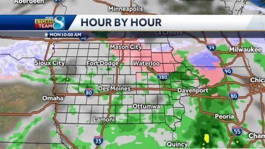 System brings ice and snow to the north, rain to the south