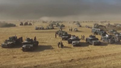 Drone films Iraqi army piling up forces near Mosul before attack on ISIS