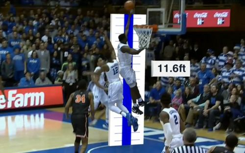 Zion Williamson jumped so high to block a shot he hit his head on the backboard