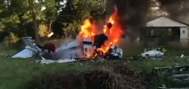 Shocking video shows man crawling from burning plane after deadly crash
