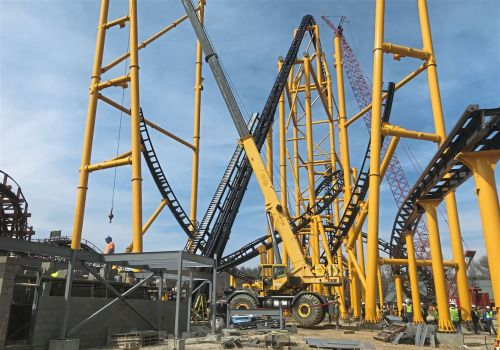 Record-setting Steel Curtain roller coaster is more than halfway there