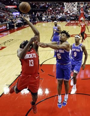 Harden's 37 points leads Rockets over Knicks 123-112