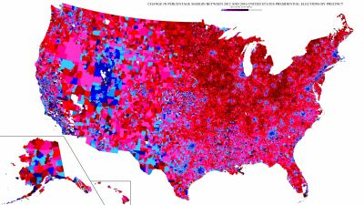 This incredibly detailed map contains a treasure trove of neat details about the 2016 presidential vote