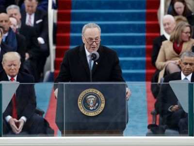 Chuck Schumer takes subtle shots at Trump just feet away from him during inauguration speech