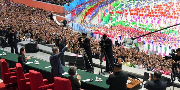 16 pictures show North Korea's grand performance at the Mass Games, where South Korea's president gave his first speech directly to North Koreans