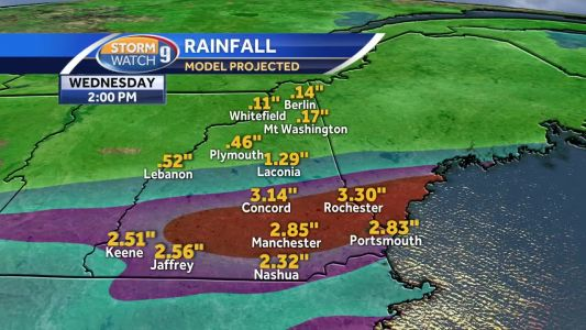 Heavy downpours from Florence's remnants arrive in NH