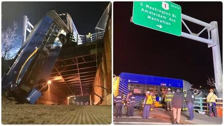 Tandem bus veers off New York road, leaving half DANGLING from overpass