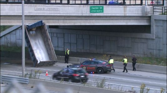 Dump truck hits overpass, shuts down part of I-41