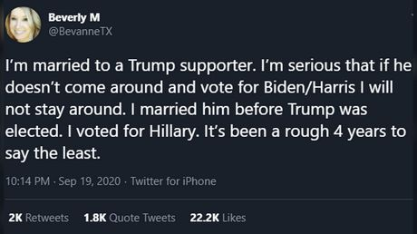 Irreconcilable politics: Texas woman VOWS TO LEAVE Trump-supporting husband if he doesn't vote Biden, sets Twitter on fire