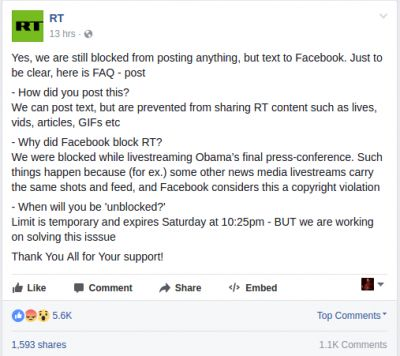 Facebook Unblocks Russian Media Outlet After Almost 24-Hour Outage