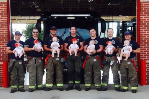 Oklahoma firefighters' photo with their babies garnering national attention