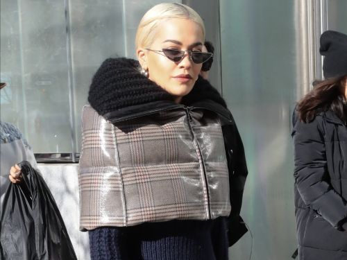 Rita Ora wore head-to-toe plaid in a cropped puffer coat that matched her $2,290 skirt