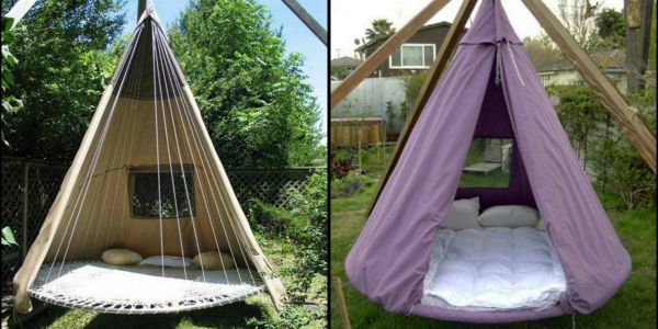You need to see how people are upcycling their trampolines into bed swings