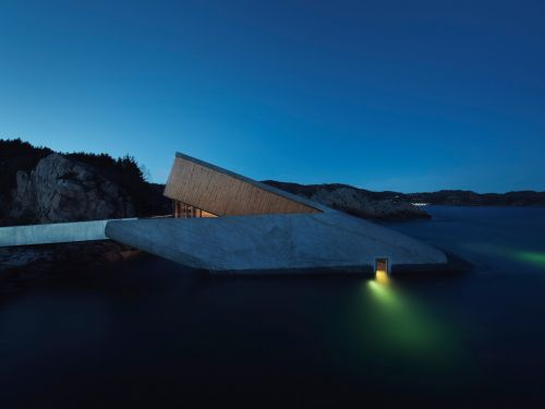 The world's largest underwater restaurant just opened in Norway, and it has a 36-foot window that looks right out into the seabed so guests can watch marine life swim by as they eat