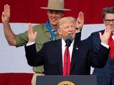 Trump just had his most freewheeling rally in months - and it was to a massive group of Boy Scouts