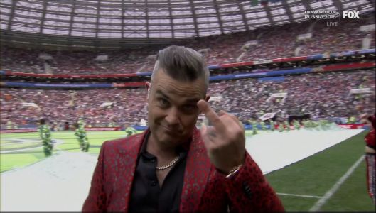 Robbie Williams gave the world the middle finger during World Cup opening ceremony