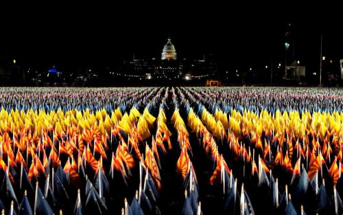 Stunning images show 'Field of Flags' taking the place of inauguration crowds
