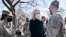 Jill Biden Makes Surprise Visit To National Guard Troops - With Cookies
