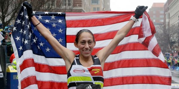 The first American woman to win the Boston Marathon in 33 years waited for another racer to use the bathroom during the race and still won by 4 minutes